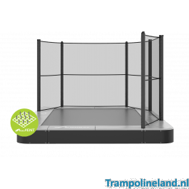 Akrobat Primus Premium Flat to the ground Trampoline met net 430x310 cm Grijs