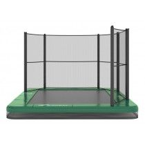 Akrobat Orbit inground trampoline 335x244cm met half net Groen