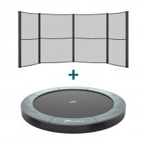 Akrobat Orbit flat to the ground trampoline 365cm met half net Grijs