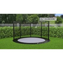 Akrobat Primus Flat to the ground Trampoline 430cm met half net Zwart