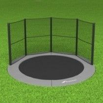 Akrobat Primus Flat to the ground Trampoline 430cm met half net Grijs