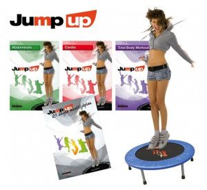 Booming Fitness Jump up trampoline 97 cm met Jump Up DVD set met randkussen blauw