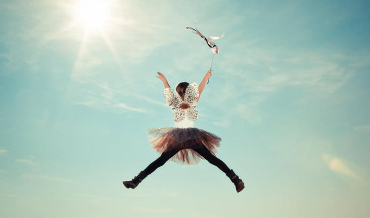 Trampoline jump girl